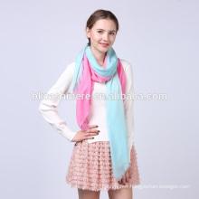 2017 factory selling winter elegant handmade pink and blue gradient ramp printed wool scarf
