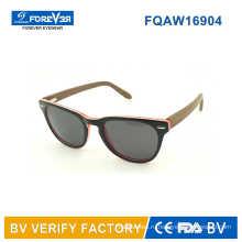 Горячая продажа 2016 ацетат, смешивают с деревянного храма солнцезащитные очки производятся в Вэньчжоу