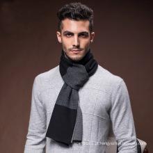Moda masculina lã nylon acrílico de malha de inverno quente cachecol (yky4618)