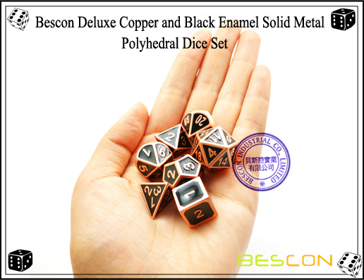 Bescon Deluxe Copper and Black Enamel Solid Metal Polyhedral Role Playing RPG Game Dice Set (7 Die in Pack)-7