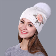 Female winter hat fashion embroidery patches knit