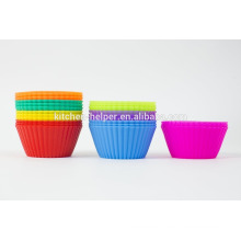 BPA libre de alimentos Grade cocina pastel herramientas de hornear resistente al calor reutilizable de silicona suave cupcake muffin taza