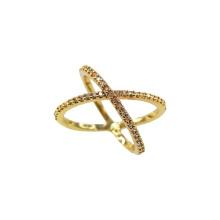 Anillo de compromiso cruzado estilo X chapado en oro