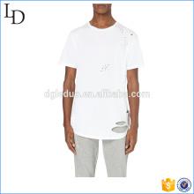 Ourlet incurvé blanc en détresse t-shirts trous de mock