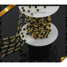 High Quality Black Glass Beads Chain Necklace, Rosary Gold Chain (JD011)