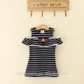 Novel design listrado camisa casual mãe e filha vestido para menina de 7 anos de idade