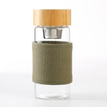 400ml fancy designed glass tea infuser bottle bamboo cover glass water bottle
