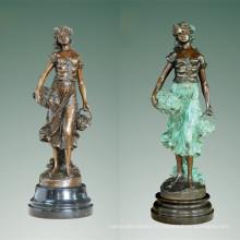 Femme Art Figure Bronze Sculpture Raisin Dame Intérieur Décor En Laiton Statue TPE-471 (B)
