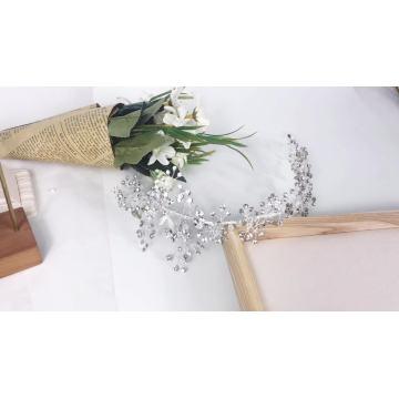 Acessórios para cabelo de noiva de noiva de cristal artesanal prata para casamento