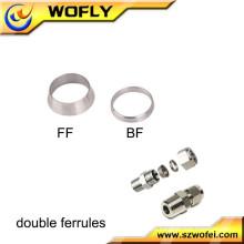 Dois anéis de metal linha de ar acessórios em aço inoxidável junção de ferrolha