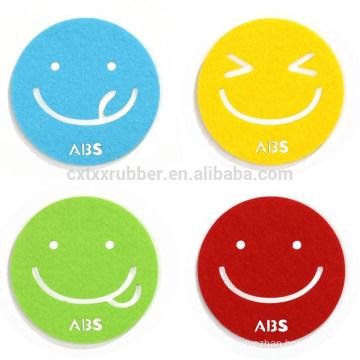 smile face coaster, cute smile glass pad