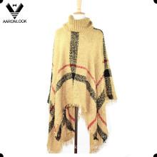 Fashion Loop Yarn Plaid Knit Shawl Large Size Poncho