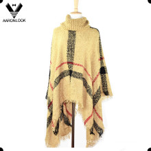 Moda Loop Hilo Plaid Knit Shawl Poncho de gran tamaño