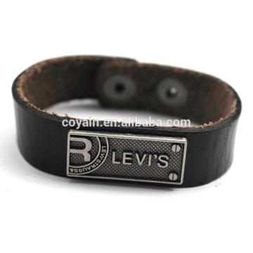 Customize Engraved Alloy Tag Wrap Leather Bracelet Wholesale