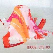 Fashion printed square silk chiffon scarf