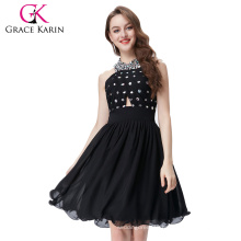 Grace Karin Ladies Halter Knee length Short Black Evening Party Dress CL6018