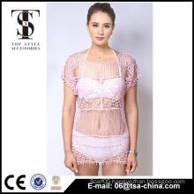 Top selling products 2016 Summer Ladies Tassels black lace beach coat