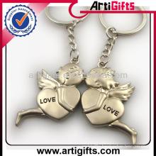 Wholesale cheap custom metal couple angel keyring