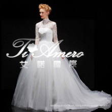 Forever elegante encaje de cuello alto princesa blanca vestidos de novia Long Sleeve2014 Berta nupcial con tren de capilla