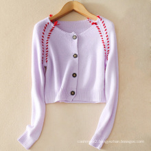 Ladies' pure cashmere sweater cardigan Hand-hook red line collar with long sleeves and 4 button casual cardigans