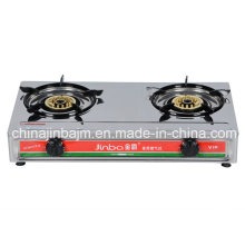 2 Burner Brass Cap Stainless Steel Gas Cooker
