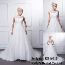 2016 appliqued laço sem mangas pesado beading laço vestidos de noiva alibaba vestido de noiva