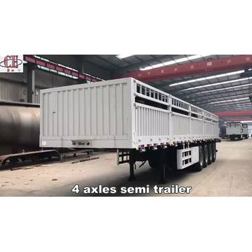 Semi-remorque de transport de marchandises de position de grille 4Axles 80T