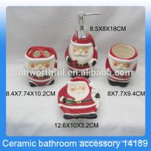 Classical santa claus shaped ceramic bathroom accessories for kids