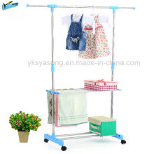 Rolling Clothes Rack Portable Storage Rack Powder Coated