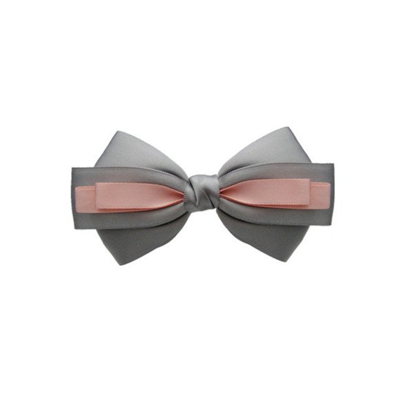 gray Ribbon Bow with pink ribbon