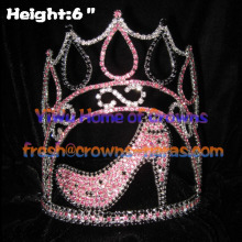 6inch High Heel Pageant Crowns With Adjustable Band