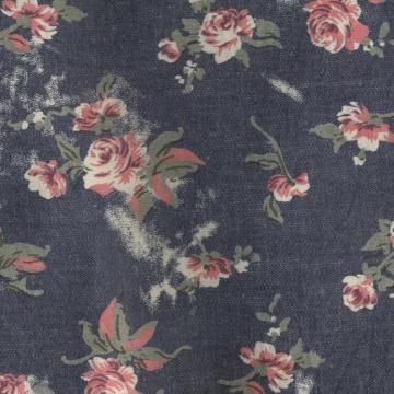 Tissu de denim tricoté imprimé sergé pour les vêtements des femmes