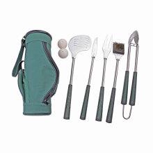7 piezas Golf forma barbacoa parrilla herramienta conjunto con lleva el bolso, Grip Golf juegos