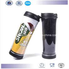 Alta calidad de doble pared plástica café taza con el parte movible de papel