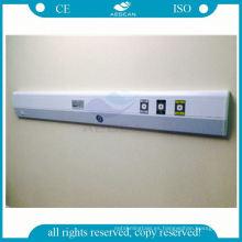 Pared blanca y azul montada para panel de cabecera de hospital de habitación de paciente