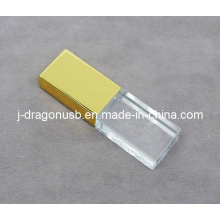 Gold Cap Crystal USB Flash Drive with 3D Logo