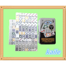 Doppel 12 Plastik Domino mit Blechdose