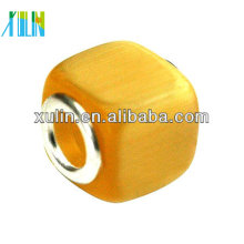 high quality yellow large hole square shaped glass cat eye beads