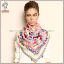 100% lana impreso fleece cuello más caliente bufanda bufanda