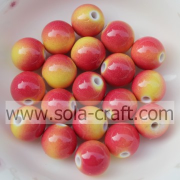 Double Solid Colors Smooth Round Acrylic Beads for Decoration