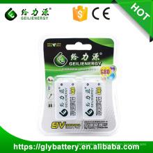 El hierro de litio de GLE 9V 680mAh 500-1000 recicla la batería recargable