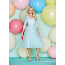 Wholesale Good Quality New Cheap Long Sleeve Lace Tulle Short A Line Bridesmaid Dresses LBS05