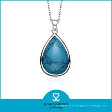 Vente en gros Turquoise Birthstone Collier pendentif en argent (SH-N0184)