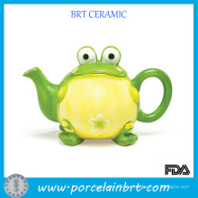 Tetera de cerámica de porcelana con diseño de rana