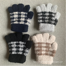 Mittens Spandex Winter Knitted Checked Warm Gloves