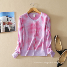 Cashmere two pieces set small squares of pure cashmere women cardigans+small squares Vest