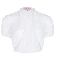 Belle Poque Women's Short Sleeve Cropped Short White Lace Bolero Shrug BP000217-2