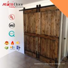 Two Horizontal Slats Rustic Simple Solid Wood Interior Sliding Barn Door Slabs With Barn Door Hardware