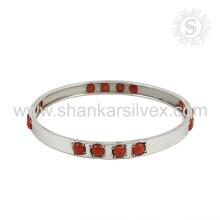 Fluorescencia de piedras preciosas de coral plata brazalete 925 joyas de plata de ley joyas hechas a mano mayorista