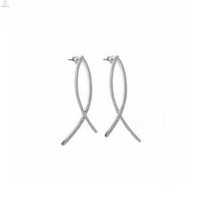 China Mode 925 Sterling Silber pflastern Diamant Hoop Ohrringe Schmuck